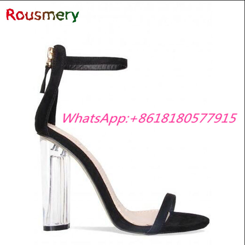 ФОТО New Arrival Chunky High Heels Woman Sandals Summer Plus Size Open Toe Party Attractive Escarpins Femme Fashion Zipper Sapatos