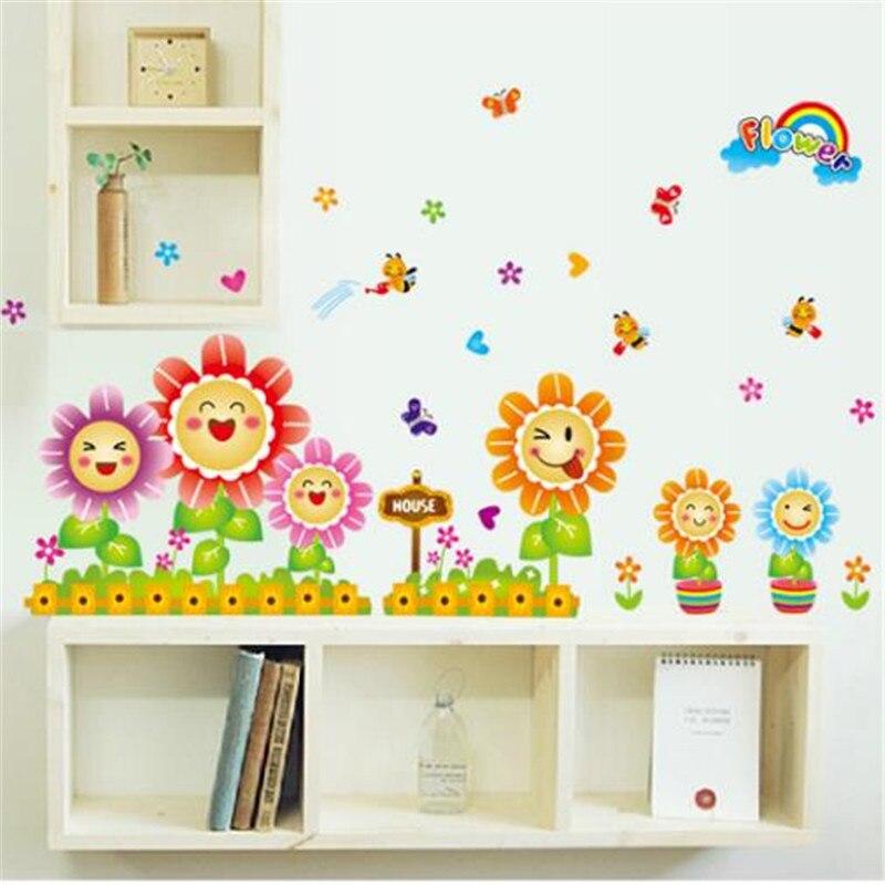 Мёд пчелы сбор подсолнухи наклейки Творческий сад ветер улыбаясь цветок дети магазин детский сад стеклянные двери стены stick