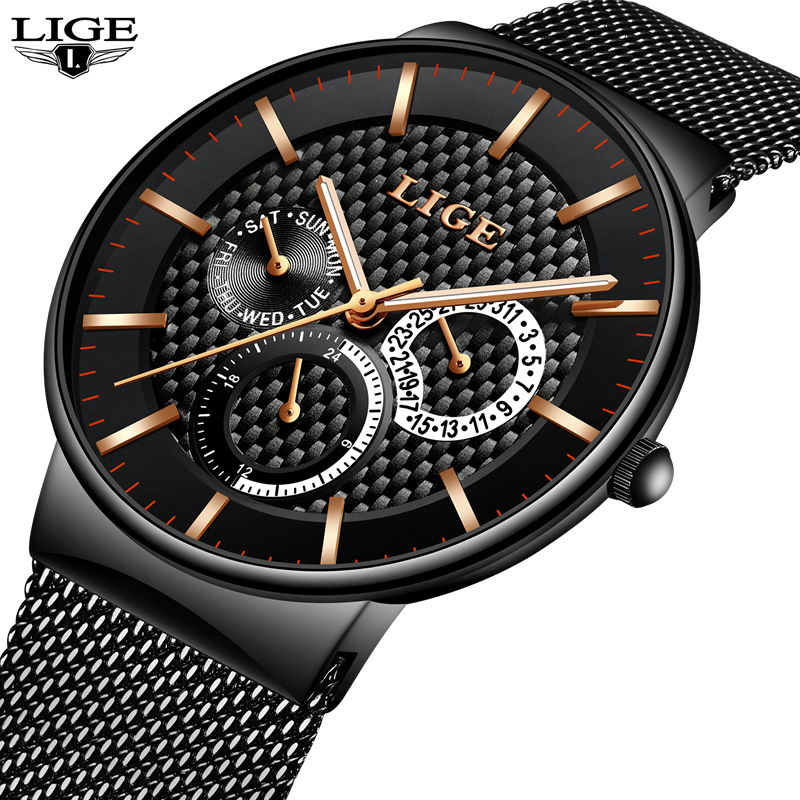 Reloj Hombre LIGE Brand Men S Watches Men Dress Quartz Watch Men Steel Strap Watch Male