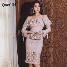 bf43536f808 QoerliN rose dentelle robe femmes Slash cou à manches longues volants robe  femme soirée robe élégante Sexy Vestidos grande taill.