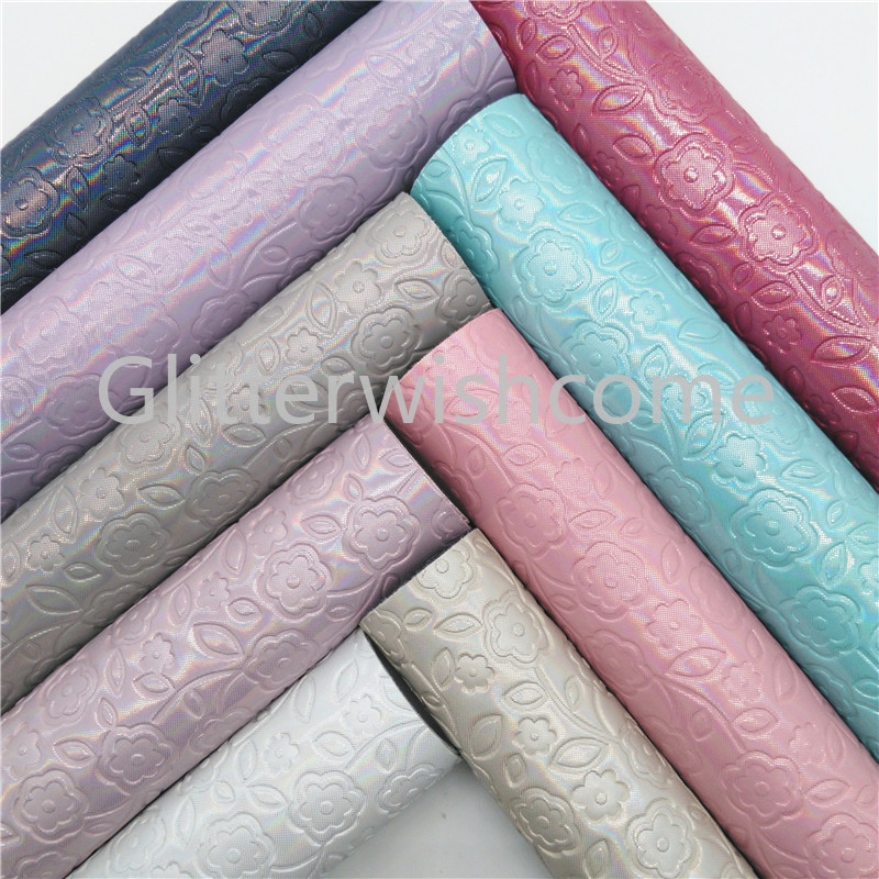 Glitterwishcome 21X29CM A4 Size Flowers Faux Leather Fabric, Iridescent Synthetic Leather Fabric Sheets Vinyl  For Bows, GM416A