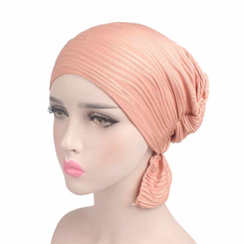 84922b5cf Turban Headwear for Cancer Patients Winter Autumn Stretch Fashion Hot Sale  Women's Ruffle Chemo Hat Beanie Head Scarf