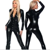 Sexy Plus Size Turtleneck PU Faux Leather Butten Open Bodysuit Latex Wet Look Body Stockings Erotic Lingerie FX33