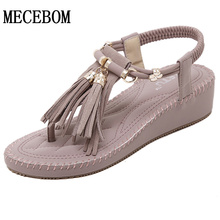 The new 2016 Women sandals woven diamond wedges sandals Comfort Casual Tassel Nubuck Leather Wedges Shoes Woman Sandals