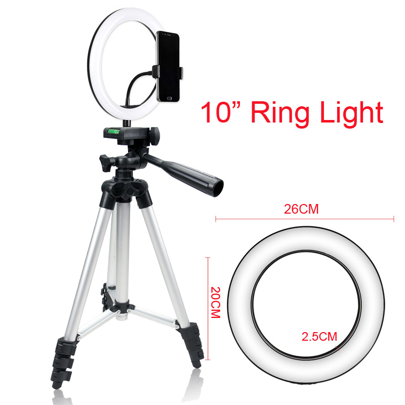 Photo Studio 10 quot Selfie Ring Light 3 Colors Dimmable USB Plug 120 LEDs Photographic Lighting with 105CM Tripod Phone holder in Photographic Lighting from Consumer Electronics