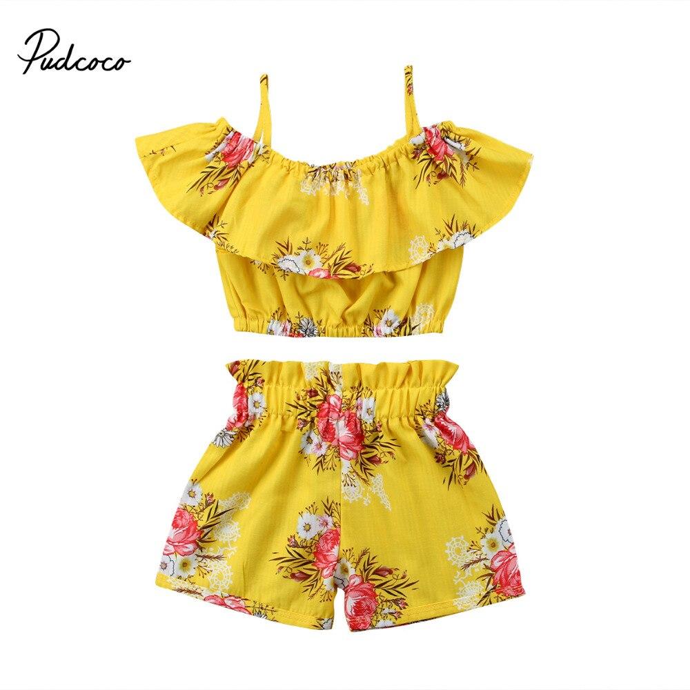 Pudcoco Enfant Fille Vêtements D'été Off Épaule À Volants Tops Élastique Shorts Bas Boutique Enfants Vêtements Tenues Set 2 pcs
