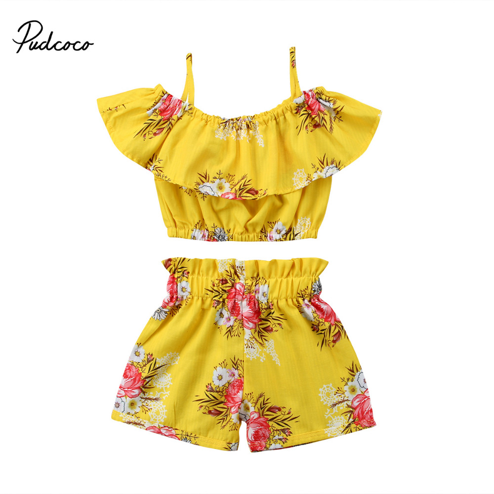 Pudcoco Toddler Girl Summer Clothing Off Shoulder Ruffle Tops Elastic Shorts Bottoms Boutique Kids Clothing Outfits Set 2pcs ruffle hem solid shorts