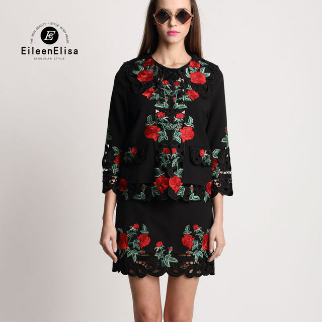 Women 2 Piece Set Suit Skirt And Jacket 2017 Runway Luxury Floral Embroidery Sets