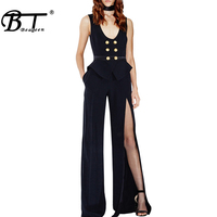 Beateen New Black Sleeveless Jumpsuit With Double breasted Button Long Pants Split Trouser Wide Leg Jumpsuits 2018 Fashion
