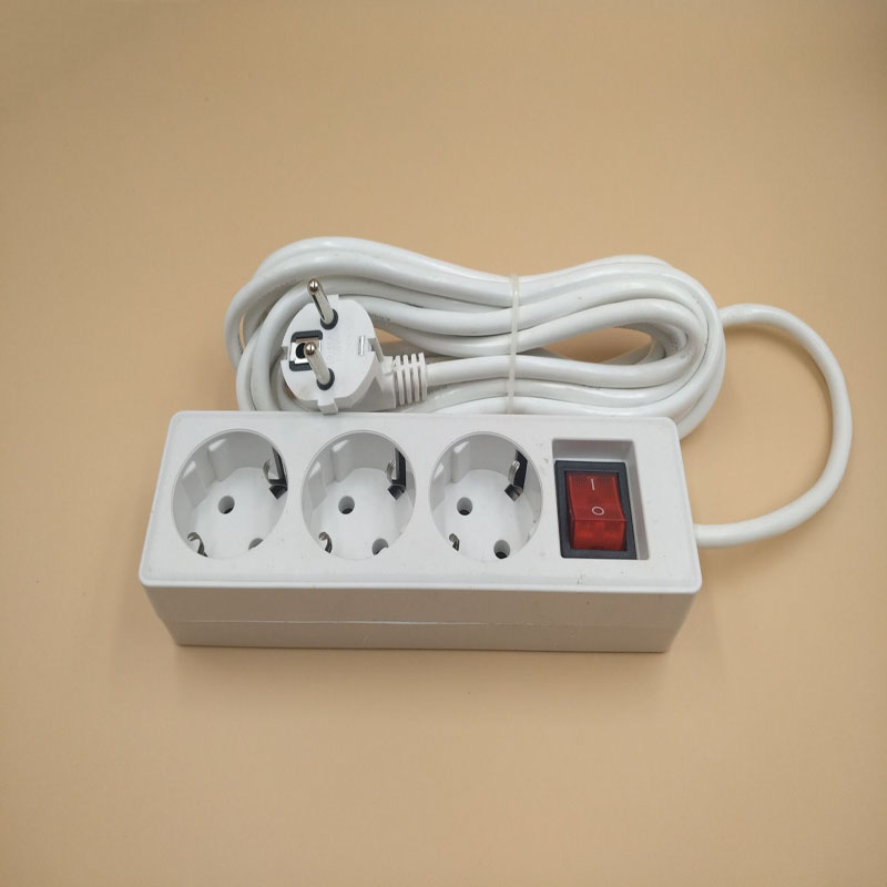 EU Plug Socket 4 Outlets Mains Lead Strip Adapter with Extension Cable Switch CN