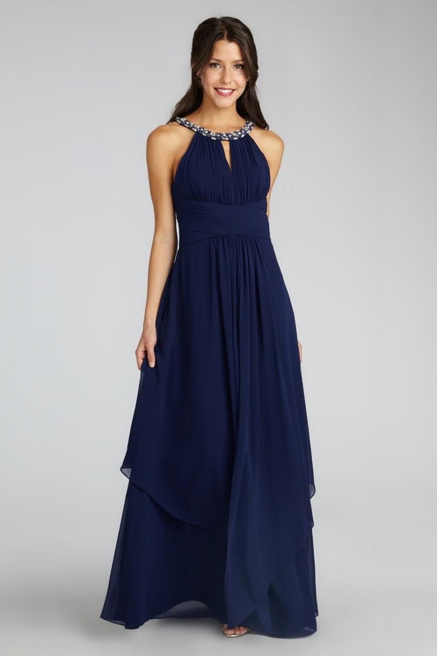 Con Cuentas Escote Criada De Las Novias Vestidos Azul Marino