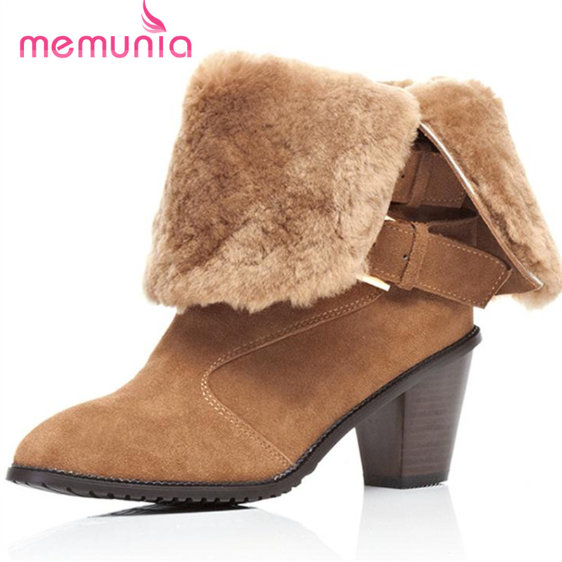 ФОТО MEMUNIA Two colors women boots cow split nubuck leather boots fashion contracted buckle winter snow boots warm