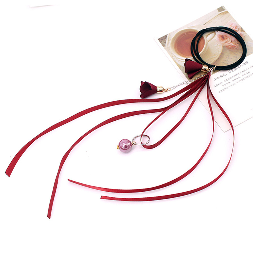 Korean Style Women Elastic Hair Bands Elegant Girl Ribbon Flower Pearl Rubber Bands Ponytail Holder Scrunchy Hair Accessories