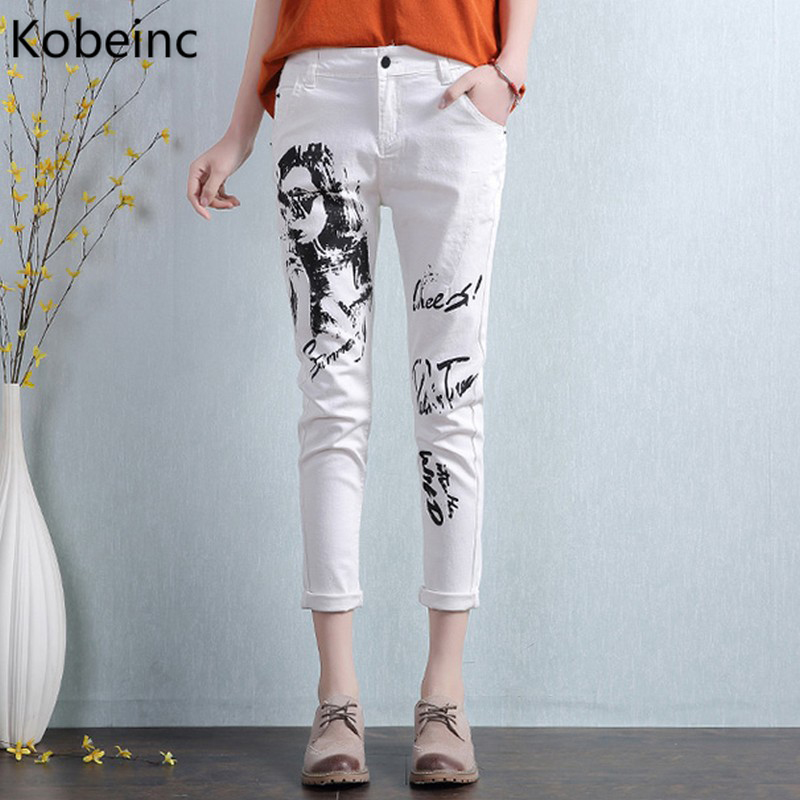 Kobeinc White Jeans For Women Summer 2017 New Casual Fashion High Waist Printing Slim-Fit Cropped Jeans Trousers Jeans Femme kobeinc white jeans for women summer 2017 new casual fashion high waist printing slim fit cropped jeans trousers jeans femme