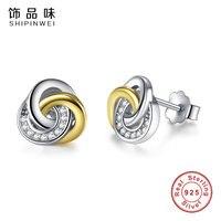 Shipinwei Genuine 100 925 Sterling Silver Gold Color Twist Love Knot Stud Earrings Stud Earrings Women