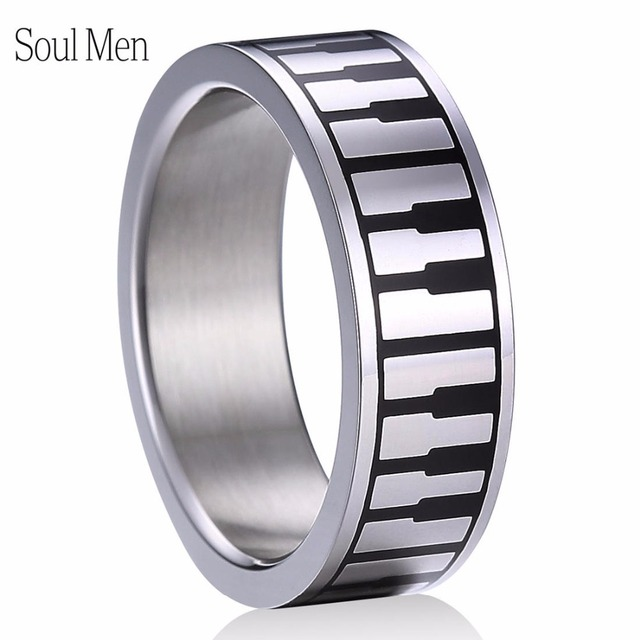 8mm Christian Keyboard Piano Rings 316L Stainless Steel Music Keys Forgiven Jewelry for Men Women US Sizes 5-13 Brand New
