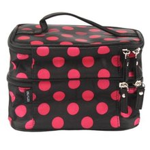 ASDS Unique Dots Pattern Double Layer Cosmetic Bag Black