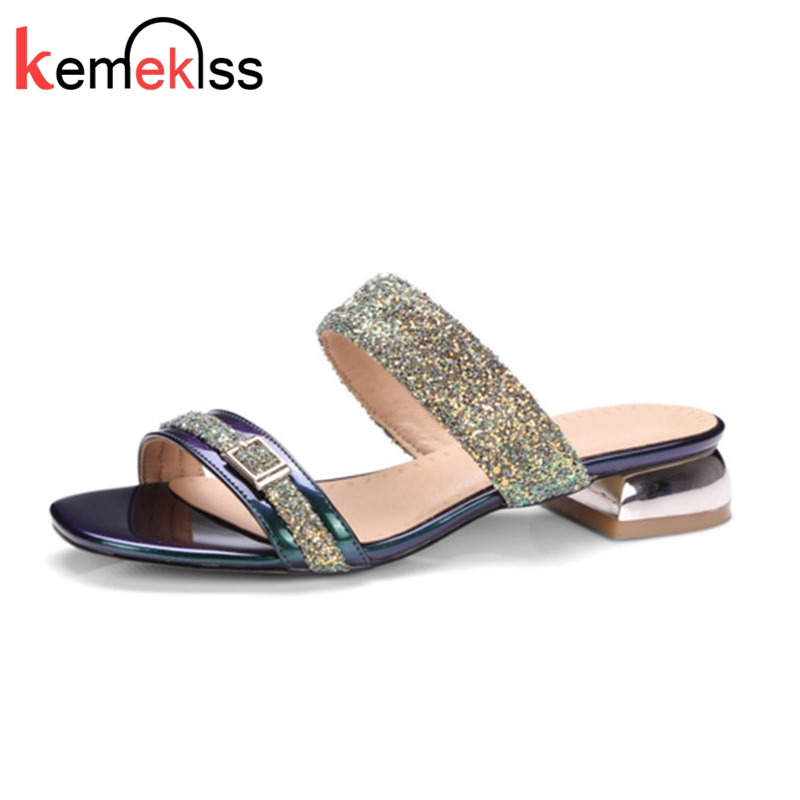 KemeKiss Women Sandals Summer Women Slides Glitter Low Heel Slippers Causal Beach Shoes Ladies Sandals Gold Large Size 34-43