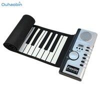 Ouhaobin Nuevo Portable Roll-Up Electronic Keyboard Piano Flexible Completo Sintetizador de 61 Teclas Sensibles Suave Altavoz Incorporado Sep19