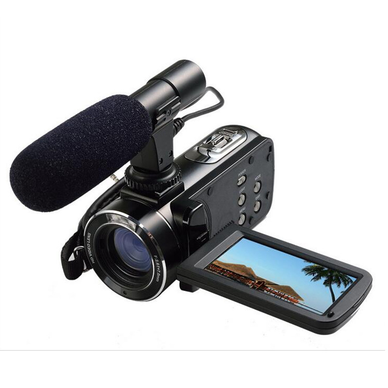 """ORDRO HDV-Z Microphone Camcorder 3.0"""" Touch Screen LCD 24MP 16X Zoom Digital Video Camera 1080P Full HD Wifi Remote Control 7"""