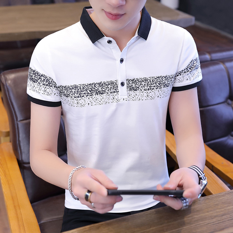 2019 Men 39 s Tops Summer 100 Cotton Printed POLO Shirts Brands Short Sleeve Camisas Stand Collar Male Shirt 3XL Stitching Crafts in Polo from Men 39 s Clothing