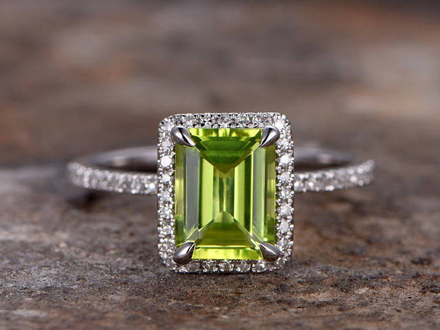 6x8mm Emerald Cut Peridot Engagement Ring Petite White Gold Plated 925 Sterling Silver Stacking Wedding Band