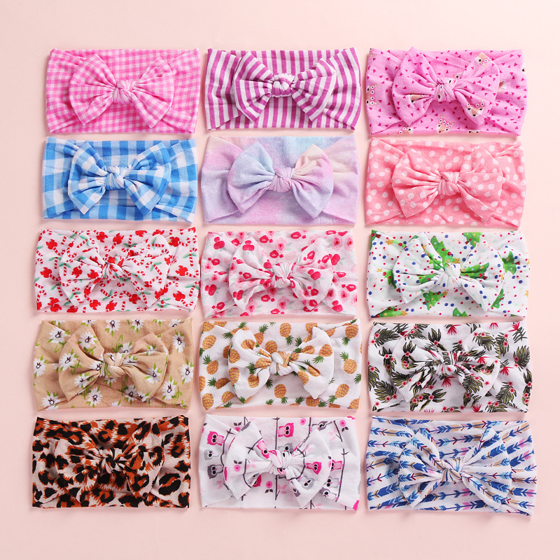 2019 New Christmas Tree Print Soft Nylon Headbands,Floral Print Knotted Hair Bow Headband,Children Girls Headwear 24pc/lot