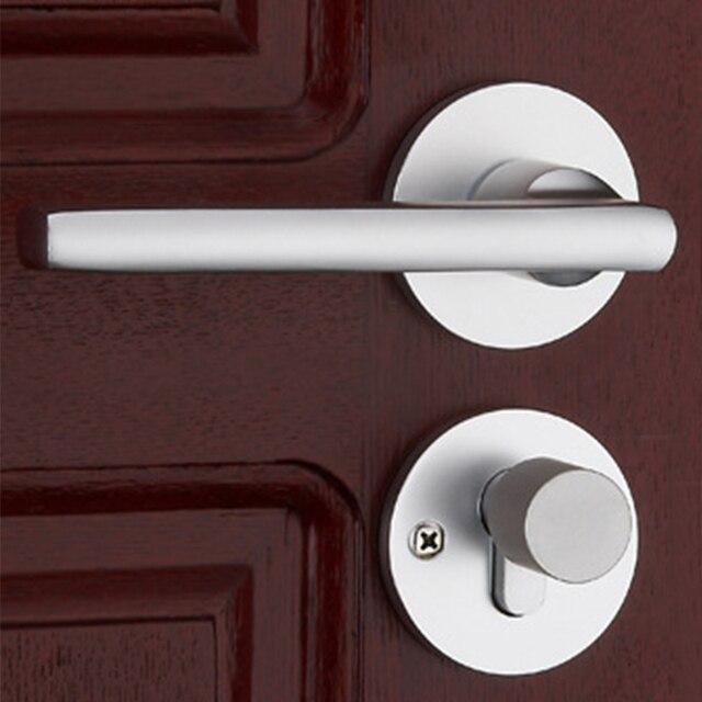 1Set Modernized U0026 Simple Door Handle With Lock Aluminum Mechanical Key  Silver Cylinder Durable Handleset For