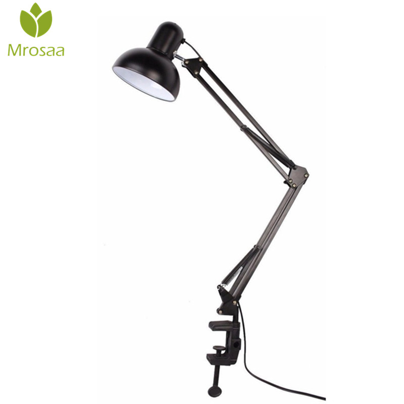 Mrosaa Flexible Swing Arm Clamp Mount Desk Lamp Office Studio Home E27/E26 Black Table Desk Light AC85-265V Led Bulb Lamps