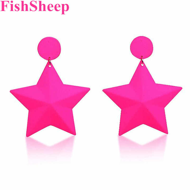 FishSheep Neon Color Star Pendant Drop Earrings For Women Rock Punk Geometric Metal Pink Painted Dangle Earring Party Jewelry