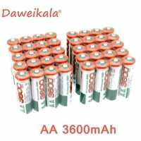 Neue 4.8.12.16.20PCS AA akku 1,2 V AA3600mAh Ni-Mh Pre-aufgeladen Akku 2A Baterias für Kamera