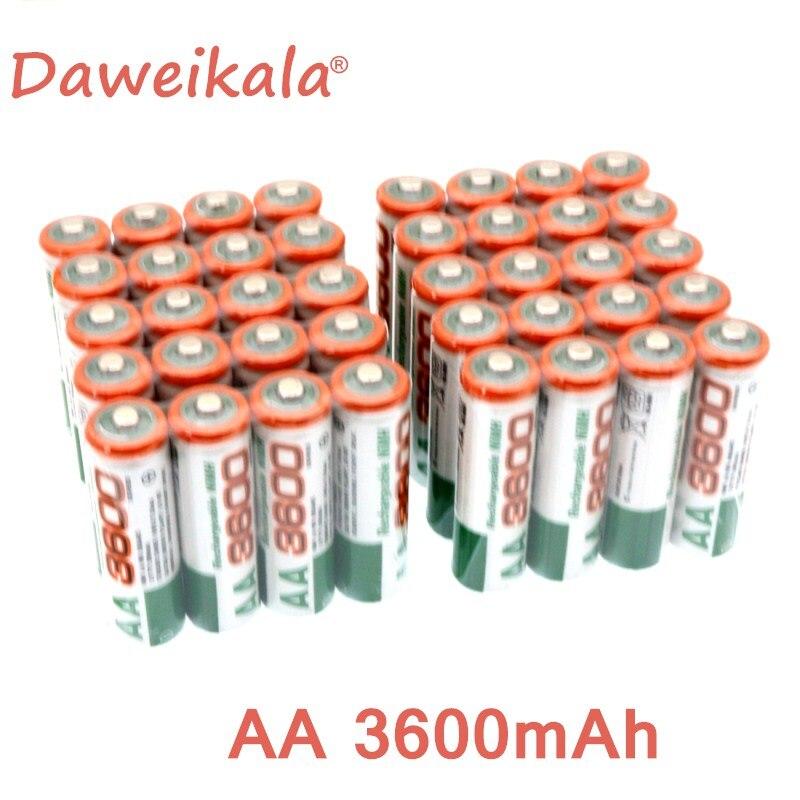 New 4.8.12.16.20PCS  AA Rechargeable Battery 1.2V AA3600mAh Ni-MH Pre-charged Rechargeable Battery 2A Baterias For Camera