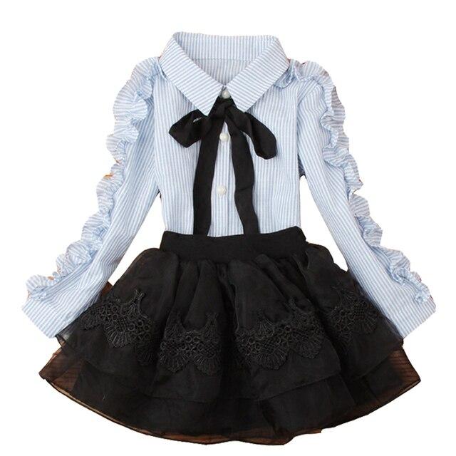 d48d60783 € 7.45 37% de DESCUENTO Blusas de algodón para niñas camisas a rayas para  estudiantes uniformes escolares faldas tutú de encaje para niñas ...