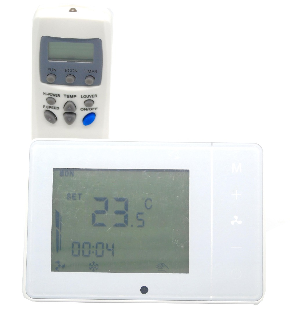4 pipes IR remote controllable digital temperature controller thermostat with programmable  7 x 24 7 24h programmable adjustable thermostat temperature control switch with child lock