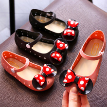 Jelly Sandals for Girls Wave Point Mickey Bow Tie Girl Fashion Dress Sandal Soft Comfortable Shoes Hollow Out Black Pink