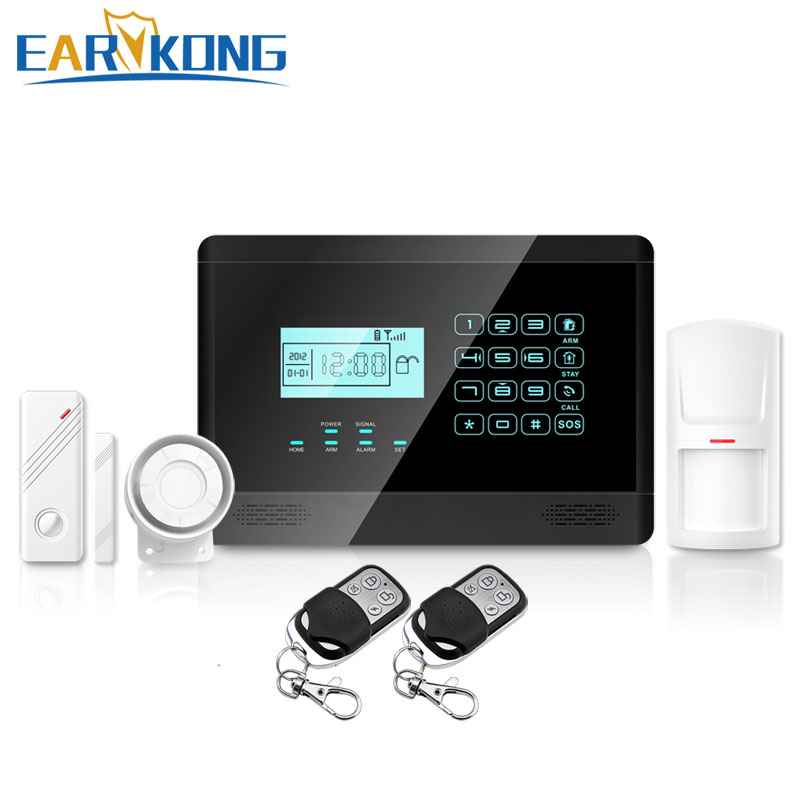 Free shipping new LCD 433MHZ Black Wireless GSM Alarm System for PIR remote control Wireless Home Burglar Security Alarm System free shipping 3 pieces lot wireless remote control controller keyfobs keychain 433mhz just for our alarm system