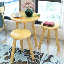 Three Pieces Round Table Solid Wood Cafe Tables Furniture
