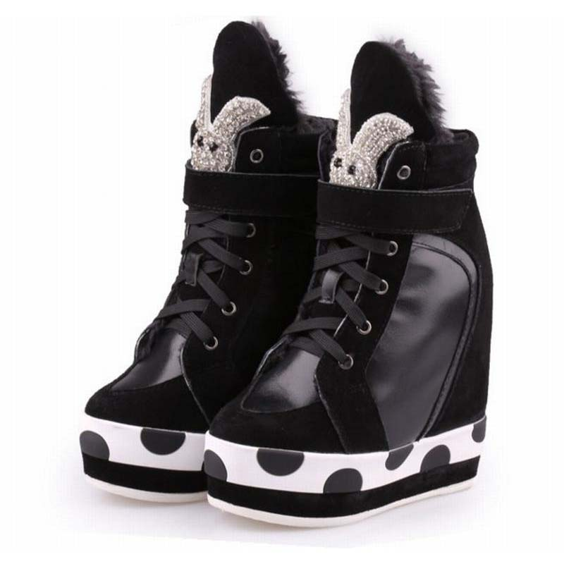 ultra high wedge heel casual shoes winter plush snow height increasing high top lace up boots fashion rhinestone elevator shoes