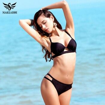 NAKIAEOI 2018 New Bikinis Women Swimsuit Swimwear Female Sexy Brazilian Bikini Set Cut Out Solid Beach Bathing Suit Swim Wear 1