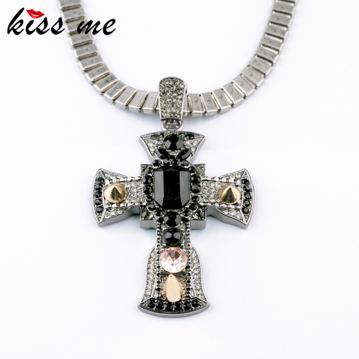 New Styles 2017 Fashion Jewelry Antique Vintage Black Cross Pendant Necklace In Pendant