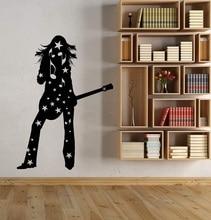 비닐 벽 applique 실루엣 소녀 기타리스트 취미 락 스타 스티커 바 나이트 클럽 호스텔 포스터 홈 아트 장식 2yy19
