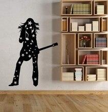 ไวนิล wall applique silhouette สาวกีตาร์ hobby rock star สติกเกอร์บาร์ไนท์คลับโฮสเทลโปสเตอร์ตกแต่งบ้าน 2YY19