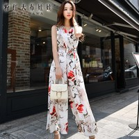 original rompers summer 2017 new fashion temperament OL printed wide leg jumpsuit women wholesale
