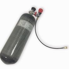 9L 4500psi Compressed Air Carbon Fiber SCBA Tank Cylinder for air gun hunting+red gauged valve+filling station