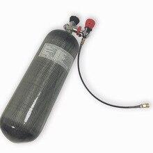 Ac109301 9l pcp rifle hpa comprimido 4500psi ar de fibra carbono/paintball tanque para m4 airsoft com m18 * 1.5 válvula + estação enchimento
