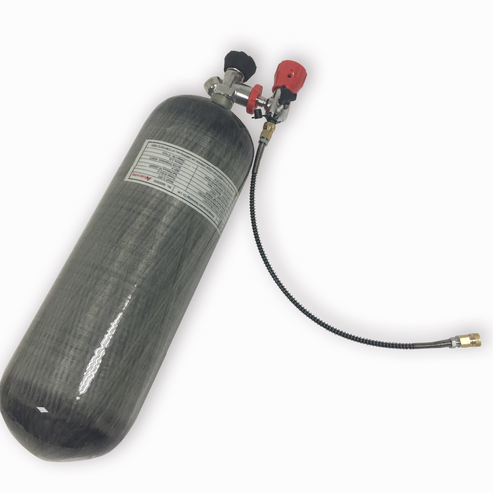 9L 4500psi Compressed Air Carbon Fiber SCBA Tank Cylinder for air gun hunting+red gauged valve+filling station
