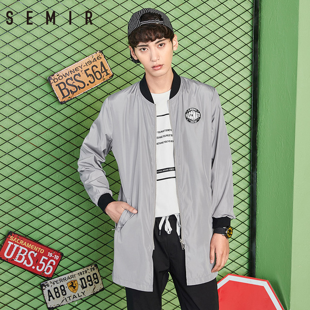 SEMIR long Jacket for men long style autumn coat cotton clothes fashion jackets mens hole streetwear baseball coat male clothes