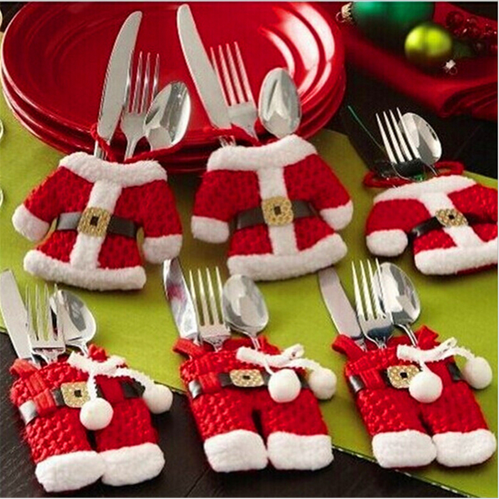aliexpresscom buy merry christmas 6pcslot fancy santa christmas decorations silverware holders pockets dinner table decor from reliable christmas