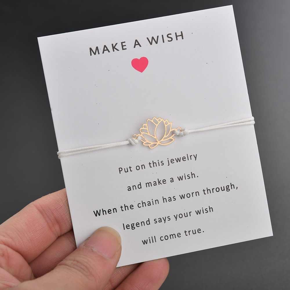 2019 nowy marka karta życzeń regulowana bransoletka złoty kolor Lotus wisiorek kwiat romantyczny 7 kolorów rope chain bracelet women