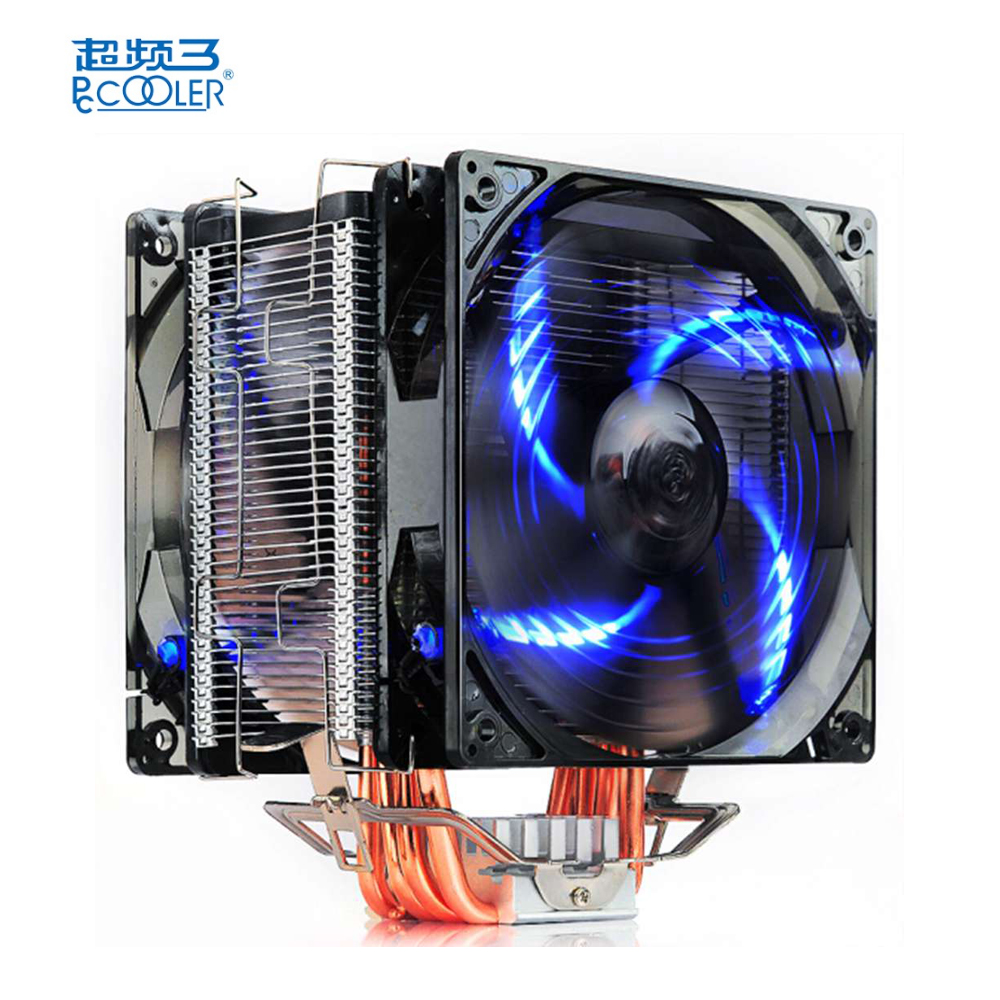 Pccooler Donghai X6 CPU Cooler Fan 4 Pins Blue Lights With 5 Heat Pipes Dual Fans 45CFM CPU Cooler Cooling Fan pccooler donghai x5 4 pin cooling fan blue led copper computer case cpu cooler fans for intel lga 115x 775 1151 for amd 754